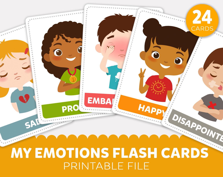Printable Emotions Flash Cards Emotions Flashcards Emotion Etsy