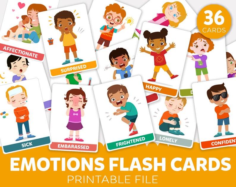 Printable Emotions Flash Cards Emotions Flashcards Body language Educational Flash Cards Full body expression Printables for Preschool Teach