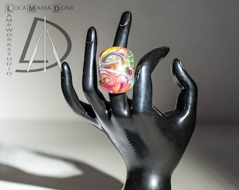 Murano Glass Ring Ruby/Bluette / Gold Leaf 24k Handmade With Authenticity Mark