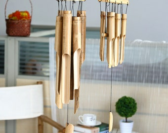 Rustic Bamboo Mobile Windchime Wooden Wind Chime Boho Home Garden Decor 35Cm
