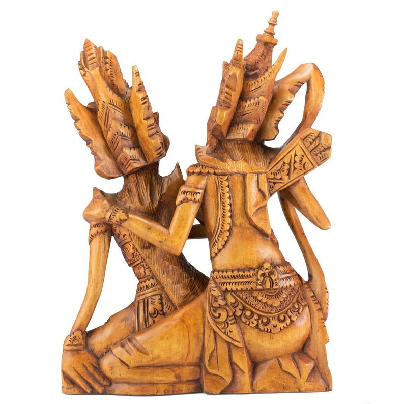 Garden Decor Made from Single Wood Block Hand Carved Teak Wood Rama /& Sita Loving Couple Motif Sculpture of Ramayana Hindu Epic Literature