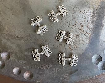 silver clip clasp 2 triple strand ethnic45 x 23 mm