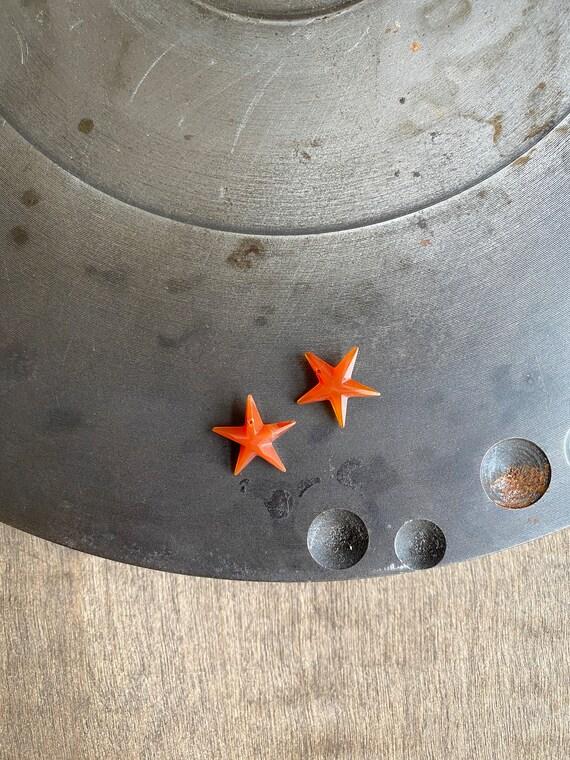 2pc-Carnelian Star, Carnelian, Carved Carnelian St