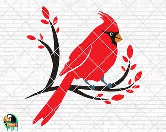Cardinal Svg Eps Winter Svg Png Cardinal Bird SVG Cardinal on Branch SVG Memorial Svg Christmas Cut Files Cricut
