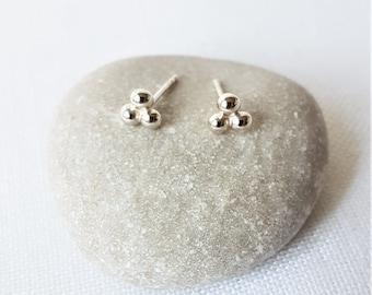 Bubble stud earrings, Sterling 925 Silver, Handmade, Small