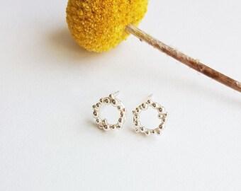 Sterling Silver, Handmade, Bubble Stud Earrings