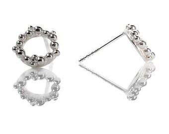 Sterling Silver Tiny Seafoam Stud Earrings