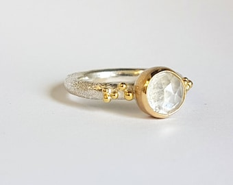 Rainbow Moonstone sterling 925 Silver and Gold Bubble Ring.