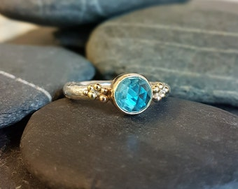 Blue Topaz 925 Sterling silver bubble Ring