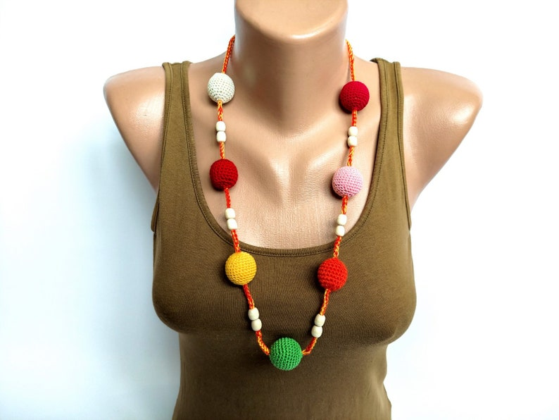 Multi color bead necklace,Long wood necklace,Crochet bead necklace,Wooden bead necklace,Beaded crochet necklace,Long wooden necklace,Jewelry