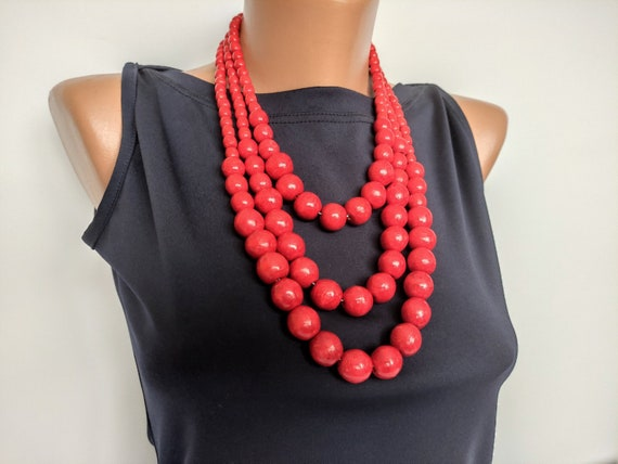 Red beaded necklace Gift Ideas for Women chunky multistrand necklace wooden bead necklace