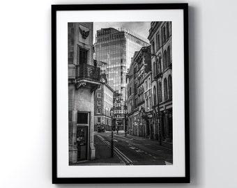 Manchester Street Original Black and White Photo In Black Frame
