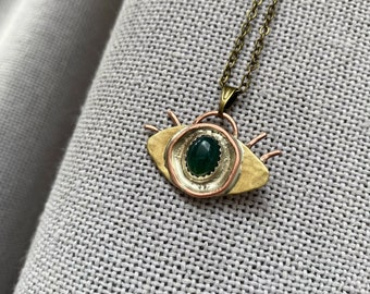Brutalist Style Handmade Eye Pendant on Antique Bronze Chain | Brass and Copper Pendant Necklace | Mossy Agate Stone |