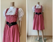 1970 39 s Pink Floral Cottagecore Apron Dress Zip Up Bodice Austrian Folk Dirndl Tyrolean Trachten Peasant Prairie Midi Cute Cotton Summer Wear