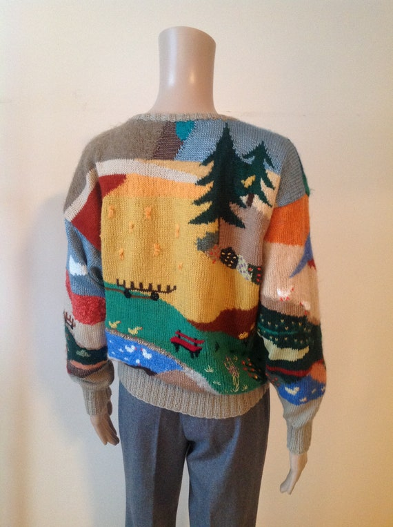 Wool Mohair Landscape Tacky Sweater Novelty Knit P