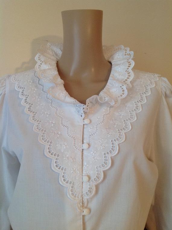 Dirndl Lace Ruffle Detail White Cotton Blouse Shir