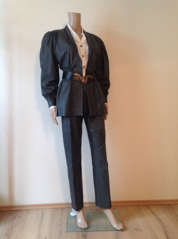 1980's Genuine Leather Grey Black Pants Suit Set,