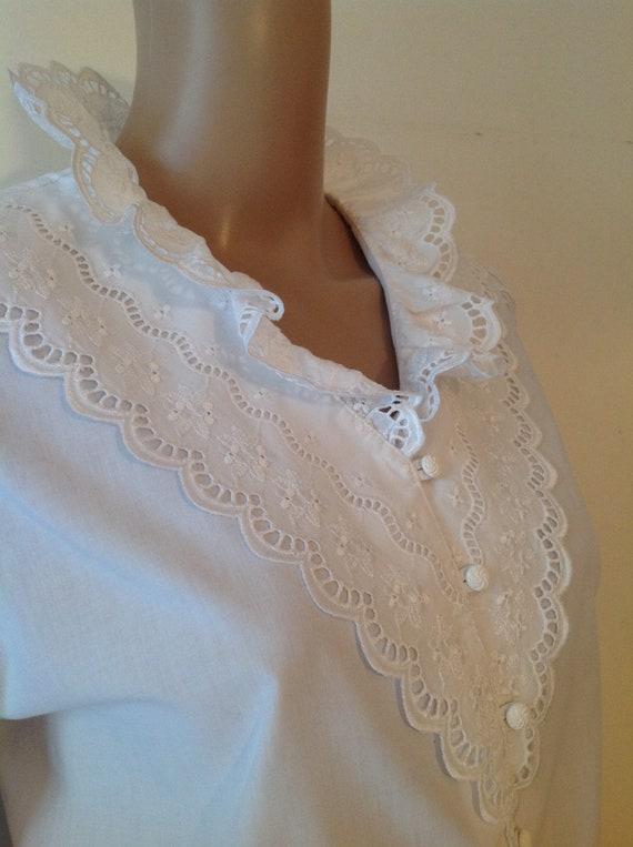 Dirndl Lace Ruffle Detail White Cotton Blouse Shi… - image 7