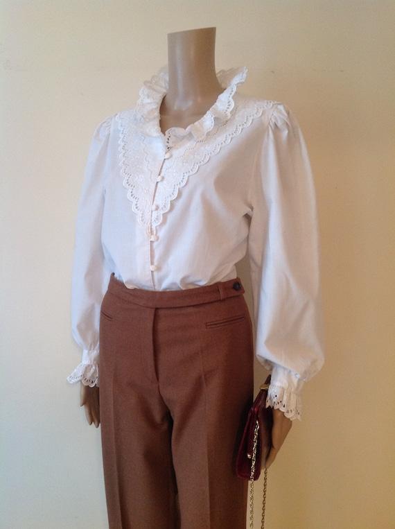 Dirndl Lace Ruffle Detail White Cotton Blouse Shi… - image 1