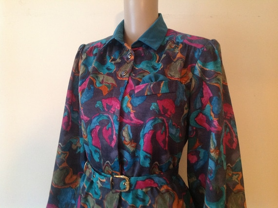 1980's Bright Abstract Print Mid Calf Button Up Bo