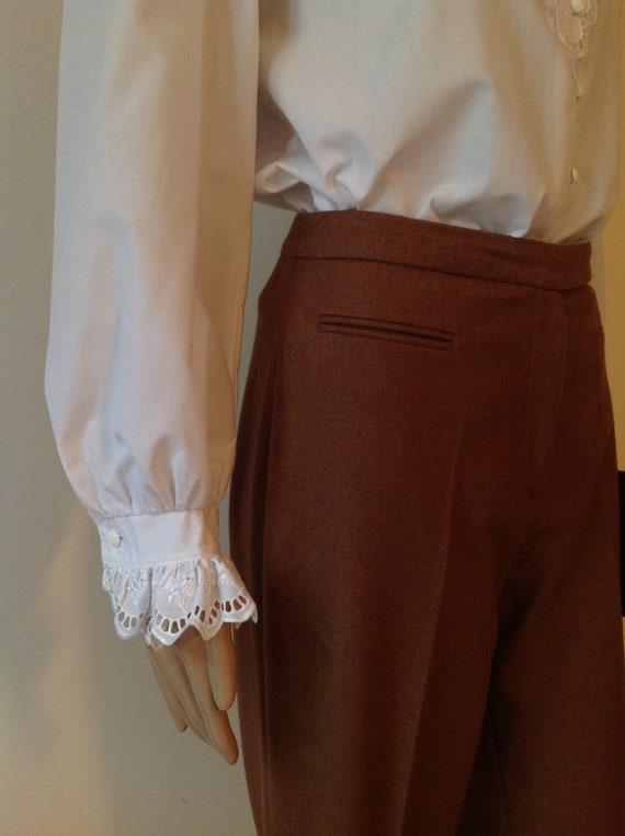 Dirndl Lace Ruffle Detail White Cotton Blouse Shi… - image 6