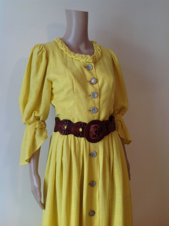 Sunshine Yellow Dirndl Vintage Dress, Soft Linen C