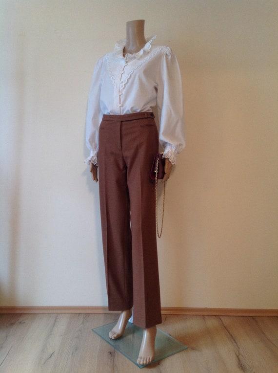 Dirndl Lace Ruffle Detail White Cotton Blouse Shi… - image 2