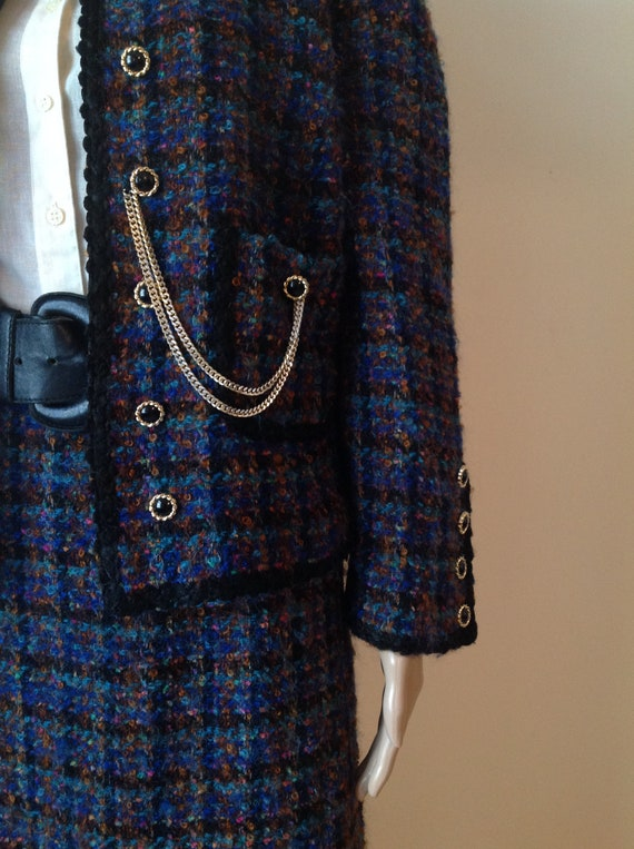 Vintage Mohair Boucle Skirt Jacket Suit Set, Wool