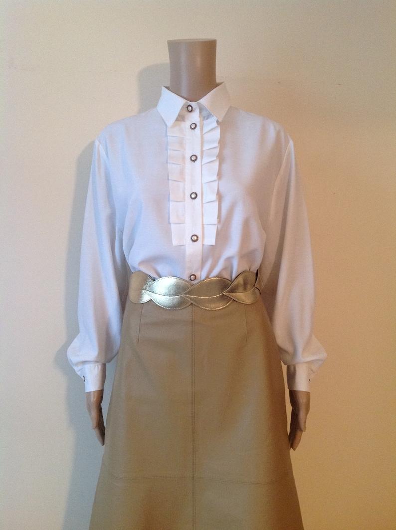 1990/'s Off White Pleated Front Blouse Button Up Cottagecore Shirt Tuxedo Secretary Suit Office Classic Elegant Jabot Collar Romantic Top