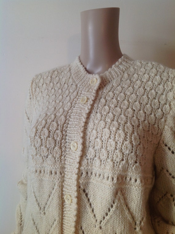 1960's Textured Cream Cable Knit Cardigan, Romanti