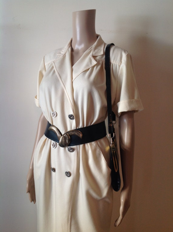 1930's Style Cream White Fitted Day Dress, Fine Wo