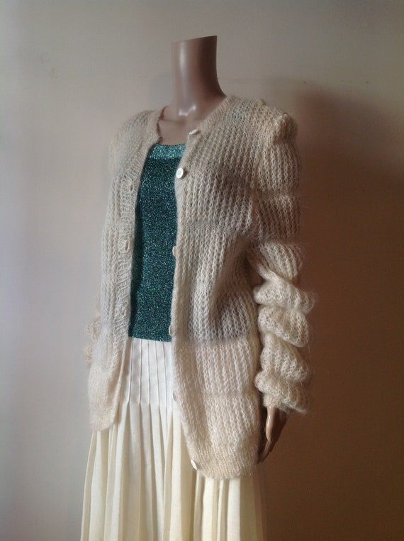 Fluffy Mohair Virago Long Sleeve Cardigan Knit, Cr