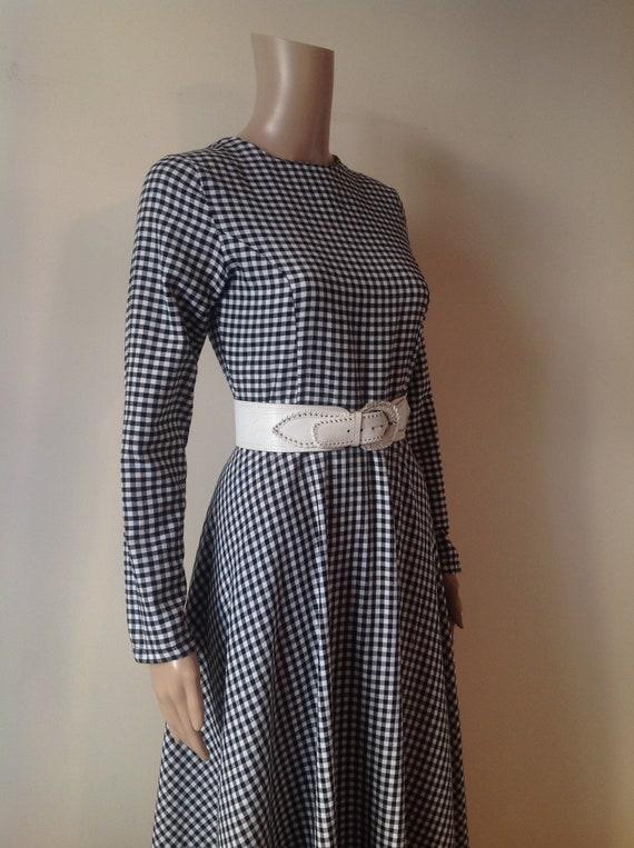 Black White Gingham Check Long Maxi Swing Dress, P