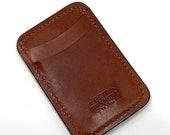 James Handmade Buck Brown Leather Minimalist ID Card Wallet