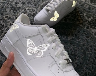 Reflective Butterflies 3M Heat Transfer Vinyl Decal Sticker ONLY - Nike Air Force 1 Customisation for any shoes and clothing