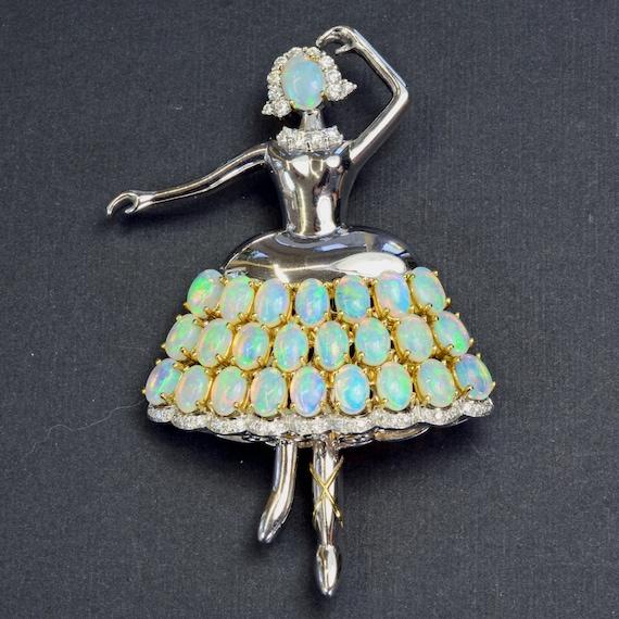 Opal Diamond Ballerina 18k Solid Gold Brooch Vinta