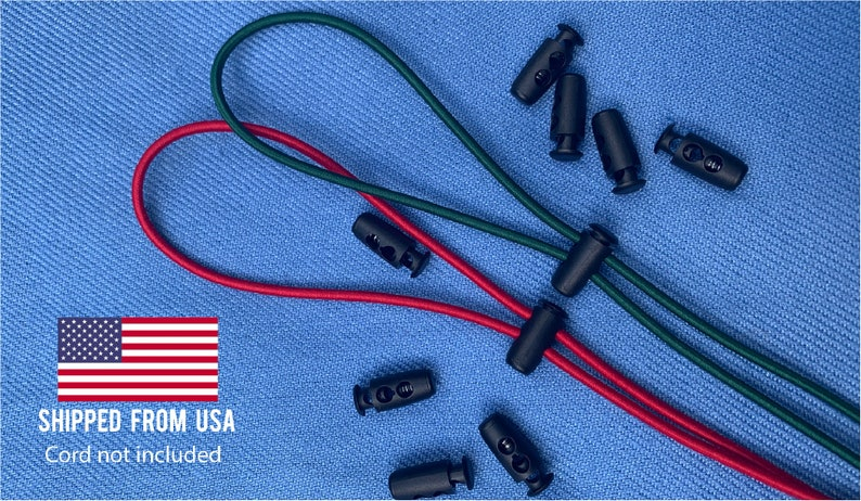 Cord Locks 2 Sizes   Nylon Material w/ Metal Spring image 0
