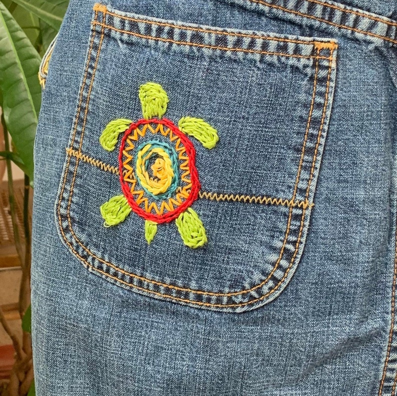 Lucky Hand Embroidered Jean Skirt