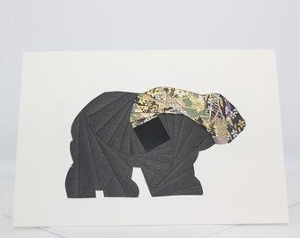 Bear   Canada Wildlife - Blank Greeting Card - Unique Handmade Iris Folding Gift Card