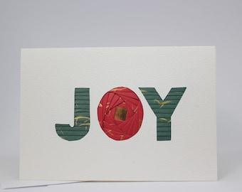 JOY Christmas Card - Blank Holiday Greeting Card - Unique Festive Handmade Iris Folding Gift Card