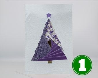 Christmas Tree - Christmas Card   Blank Holiday Greeting Card - Unique Handmade Iris Folding Gift Card