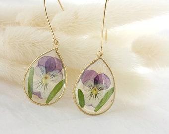 Pansy Earrings Natural Stone Earrings Viola Earrings Amethyst Earrings 14K Gold Filled Viola Pansy Dangle Earrings Flower Jewelry