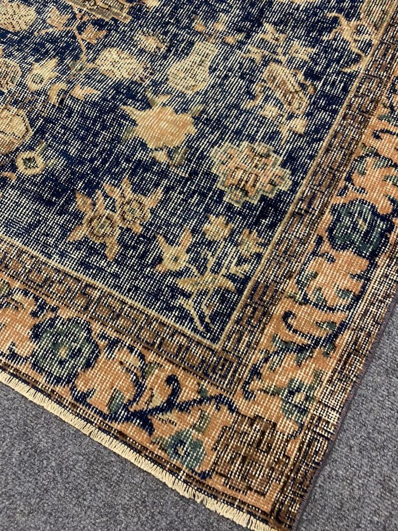 Decorative handmade vintage rug 3.10\u2019\u2019 X 6.7\u2019\u2019 ft pale color carpet dining room area rug C-214