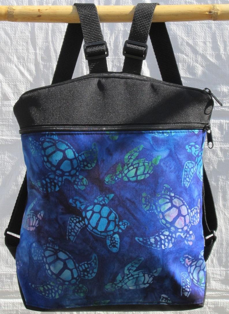 Handmade backpack Sea Turtles Backpack Cotton backpack Aloha print