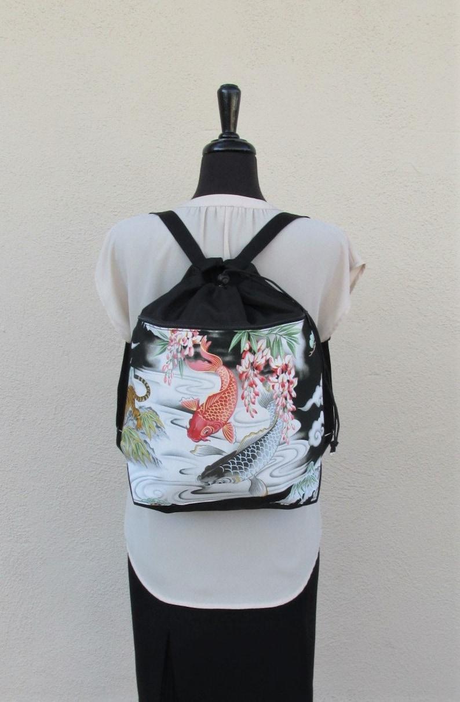 Cotton drawstring backpack Koi Pond print Koi Pond Drawstring Backpack Handmade backpack