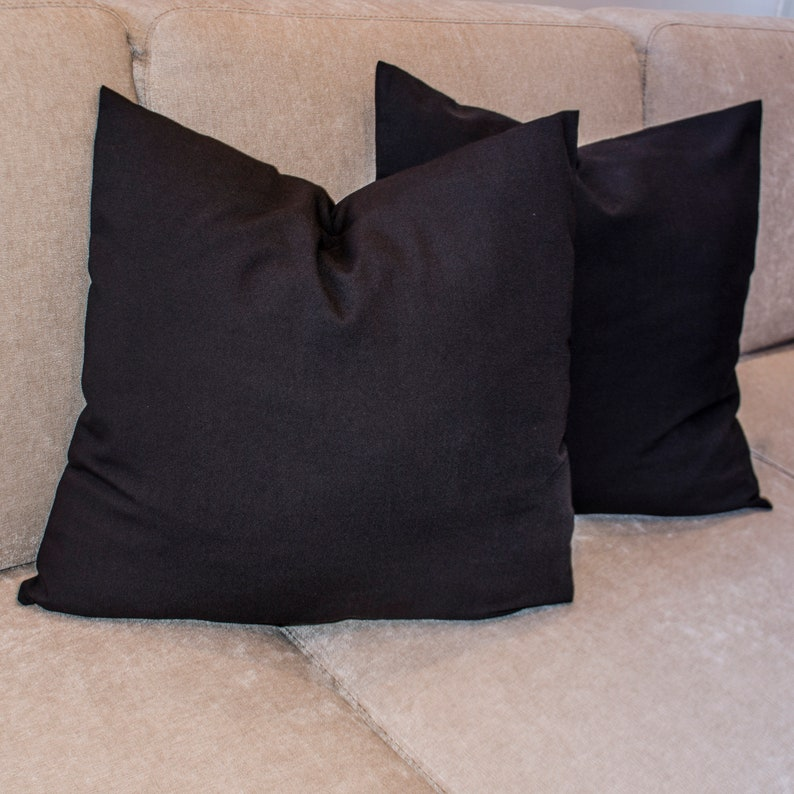 Handmade in USA Linen look Black Decorative Pillow Cover