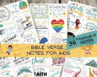 Bible Verse Notes for Kids - Scripture Cards - Encouragement Cards   Lunchbox Notes   Bible Memorization   Printable - INSTANT DOWNLOAD