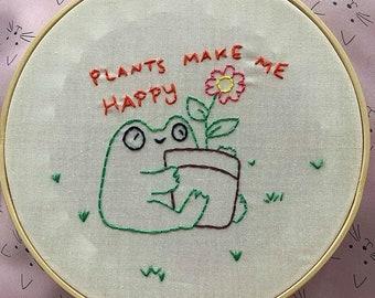 Smoke Break ~ 8 Hoop Hand Embroidered Decor