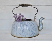 Vintage Enamel Tea Pot With Wood Handle