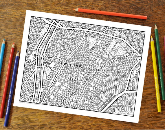 The Bronx New York City Coloring Page NYC Adult Coloring Etsy